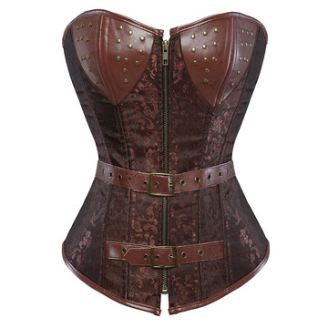 Corsets and Bustiers Women Steampunk Pirate Faux Leather Plus Size Overbust Embroidery Corselete Sexy Fiesta Party Clubwear